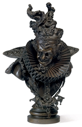 AN ITALIAN BRONZE BUST OF A CO