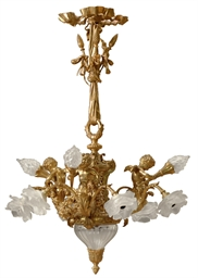 AN ORMOLU AND FROSTED GLASS NI