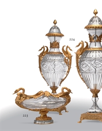 AN ORMOLU AND MOLDED GLASS CEN
