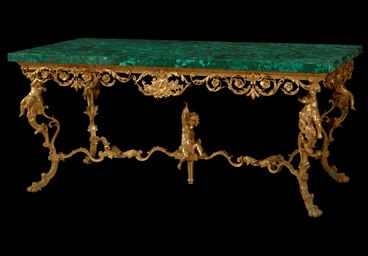 AN ORMOLU AND MALACHITE-VENEER