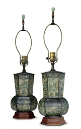 A PAIR OF REGENCY PAINTED TOLE