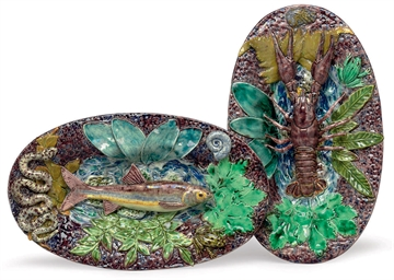 TWO PALISSY STYLE FAIENCE TROM