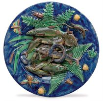 A FRENCH PALISSY STYLE FAIENCE TROMPE L'OEIL CIRCULAR DISH