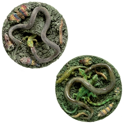 TWO PORTUGUESE PALISSY STYLE F