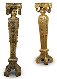 A PAIR OF ENGLISH GILTWOOD PED