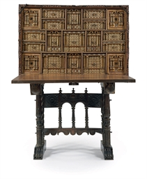 A SPANISH IRON-MOUNTED WALNUT