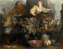 Composizione di frutta, ortaggi e cacciagione con due figure