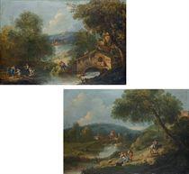 Paesaggio fluviale con contadini