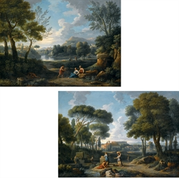 Paesaggio arcadico con lago e