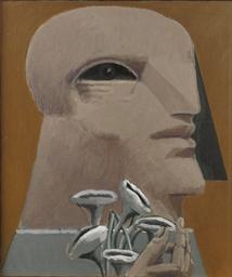 Porträt mit grauen Blümen