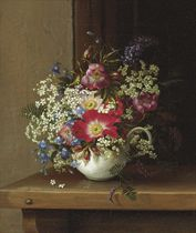 Still Life with Dog Roses, Larkspur and Bell Flowers in a White Cup