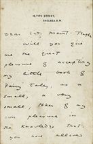 WILDE, Oscar (1854-1900). Autograph letter signed ('Oscar Wilde') to [the religious enthusiast] Georgina Cowper-Temple, Lady Mount-Temple, 16, Tite Street, n.d., offering her a copy of 'my little book of Fairy Tales', and expressing great appreciation of the way 'you have allowed my wife to be one of your friends ... and brought into her life a gracious and noble influence, which ... has a sacramental efficacy over her days. My wife has few friends -- but when she is permitted to claim you as one of them, she seems to me rich in every thing that makes life fine', 3 pages, 8vo, bifolium.