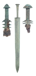 A CHINESE BRONZE JIAN SWORD; A