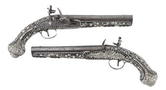 A FINE PAIR OF OTTOMAN SILVER-MOUNTED FLINTLOCK HOLSTER PISTOLS WITH EGYPTIAN SILVER MARKS AND OTTOMAN TUGHRA, PROBABLY THAT OF THE SULTAN MAHMUD II (R.1808-1839AD.), PRESENTED BY KING FAROUK OF EGYPT