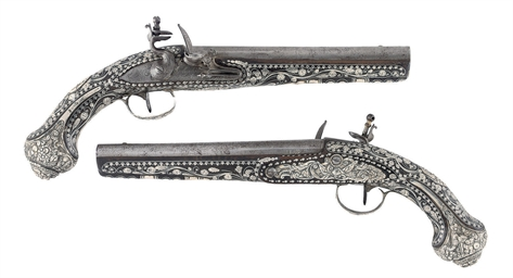 A FINE PAIR OF OTTOMAN SILVER-