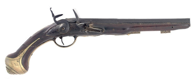 A FLINTLOCK HOLSTER PISTOL BY