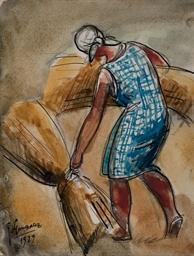 Femme aux gerbes de blé