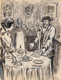 Deux dessins (1. Le dîner et 2