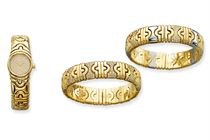 A GROUP OF GOLD, STEEL AND DIAMOND 'PARENTESI' BRACELETS/WRI