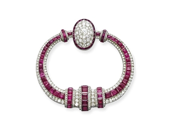 AN ART DECO RUBY AND DIAMOND '