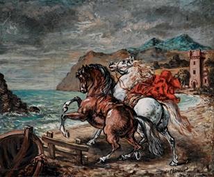 Cavalli impennati presso un go