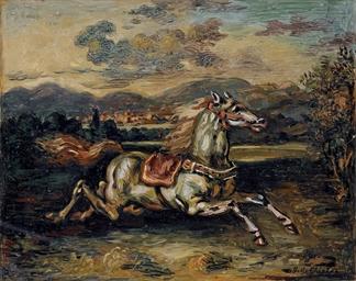 Cavallo fuggente in un paese