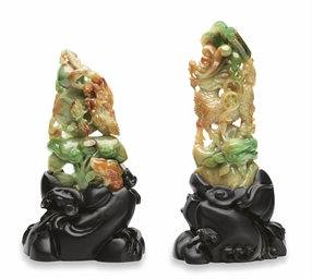A PAIR OF JADEITE CARVINGS
