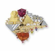 A TOURMALINE, OPAL AND MULTI-GEM 'PYRAMID IN GIZA & SPHINX' BROOCH, BY MITSUO KAJI