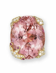 A MORGANITE BERYL, DIAMOND AND