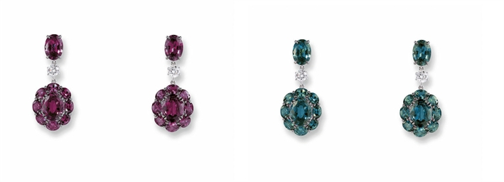 A PAIR OF ALEXANDRITE AND DIAM