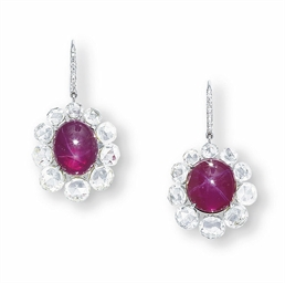 A PAIR OF STAR RUBY EAR PENDAN