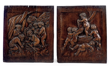 A PAIR OF FLEMISH OAK PANELS O