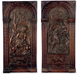 A PAIR OF FLEMISH OAK FIGURAL