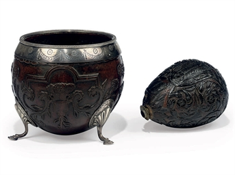 A SILVER MOUNTED COCONUT BOWL