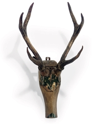 A PAINTED WOOD AND ANTLER STAG