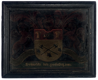 A PAINTED WOOD COAT-OF-ARMS OF