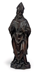 A FLEMISH OAK STATUE OF A BISH