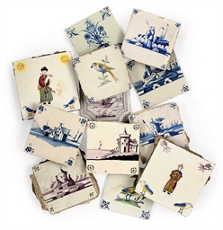 TWELVE DUTCH DELFT TILES
