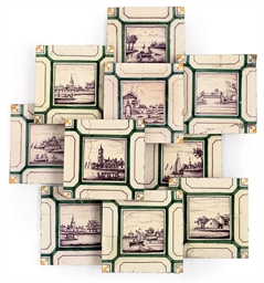 TEN DUTCH DELFT POLYCHROME TIL