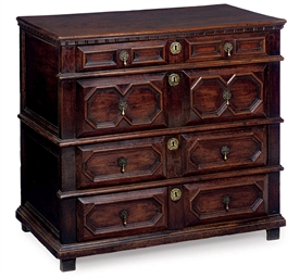 A CHARLES II WALNUT CHEST OF D