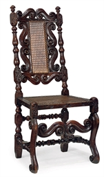 A CHARLES II WALNUT AND CANED