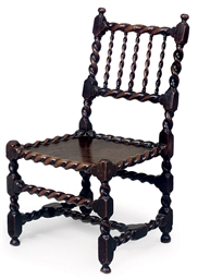 A CHARLES II WALNUT CHAIR
