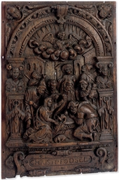 A DANISH OAK RELIEF PANEL OF T