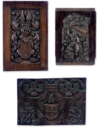 A FLEMISH OAK PANEL CARVED WIT
