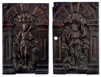 A PAIR OF JAMES I OAK PANELS