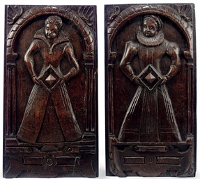 A PAIR OF ENGLISH OAK PANELS C