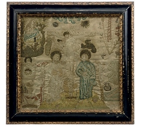 AN EMBROIDERED PICTURE OF THE