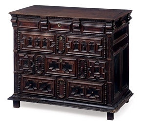 A CHARLES II OAK CHEST OF DRAW