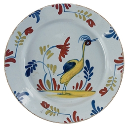A LONDON DELFT POLYCHROME PLAT
