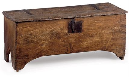 A GEORGE II ELM PLANK CHEST